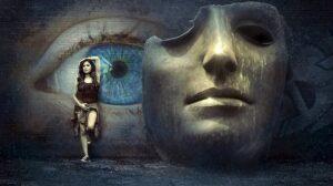 Je ogen in de overgang, ogen schilderij
